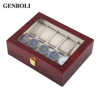 GENBOLI Luxury 10 Grids Solid Wooden Watch Box Case Jewelry Display Collection Storage Case Red Caixa