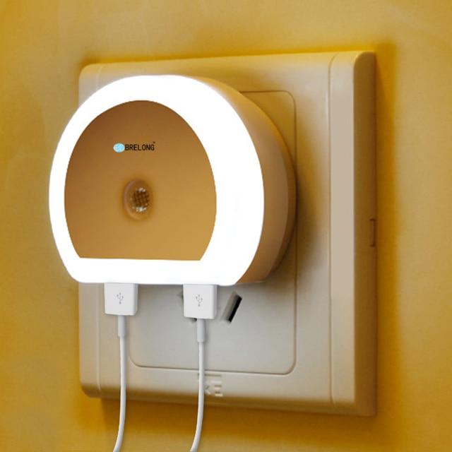 Original Portable Dual USB Charger Night Light LED Lamp Home Decor Wall Plate Socket Dusk Dawn Sensor Creative Night Lamp