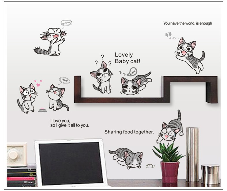 7054 %% 10 cats / Chi sweet home in September label lovely cats Chi baby DIY cat sticker Home decor wall decoration Christmas