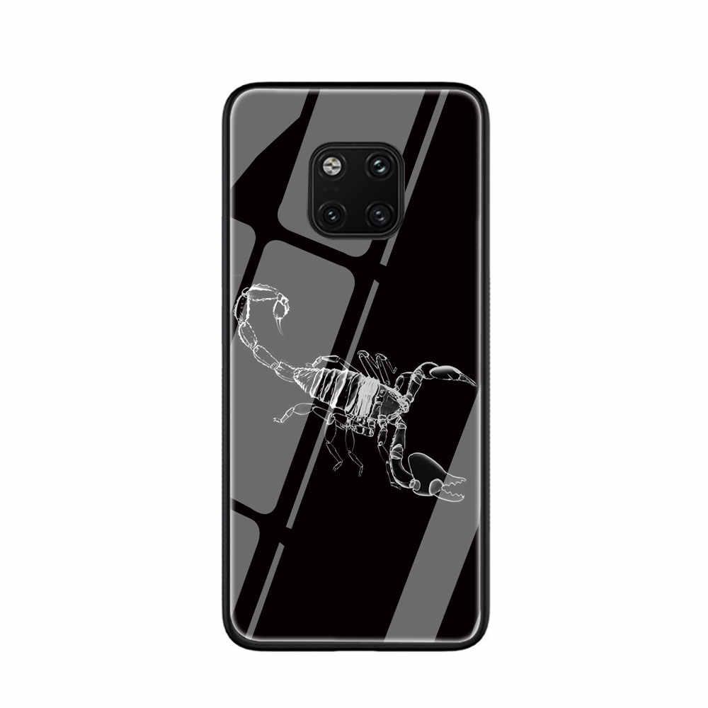 โทรศัพท์ปูแมงป่องกระจกนิรภัยสัตว์สำหรับ HUAWEI Mate P 10 20 Lite Pro Y9 Honor 8X 7A ครึ่งห่อกรณี