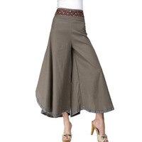 Verão Largas Calças Perna Mulheres Exército Verde Calça Casual Solto Vestido de Linho Calças Calças Harém Cordão
