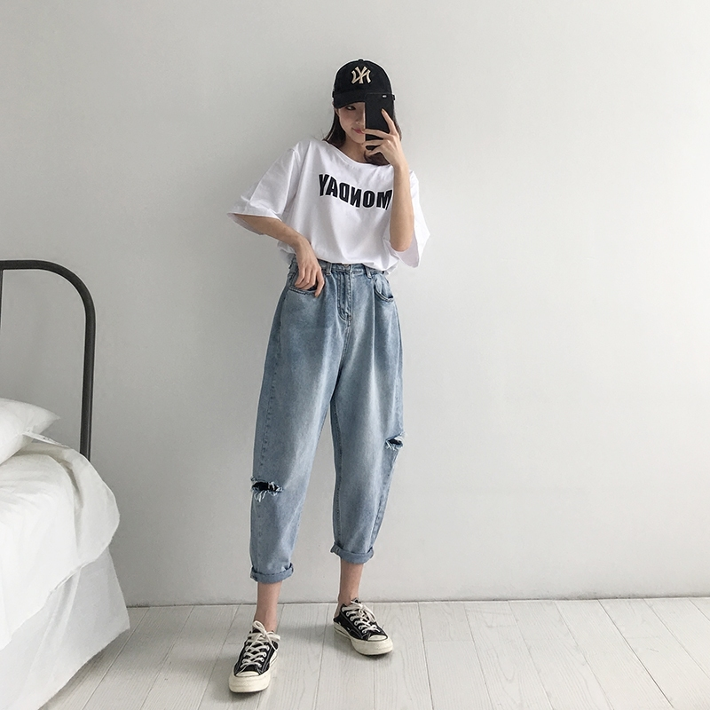 WQJGR 2018 Summer Holes Haren Pants Jeans Woman Easy Long Fund Loose And Comfortable Nine Part Pants 3