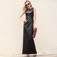 WBCTW Black Leather Dress Maxi Woman 10XL Plus Size Sleeveless Back Split PU Elegant Vintage Evening Party Bodycon Dresses