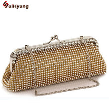 Free Shipping New Women Crystal Clutch Double-sided Full Diamond Luxury Handbag Wedding Party Evening Bags Chain Shoulder Bag