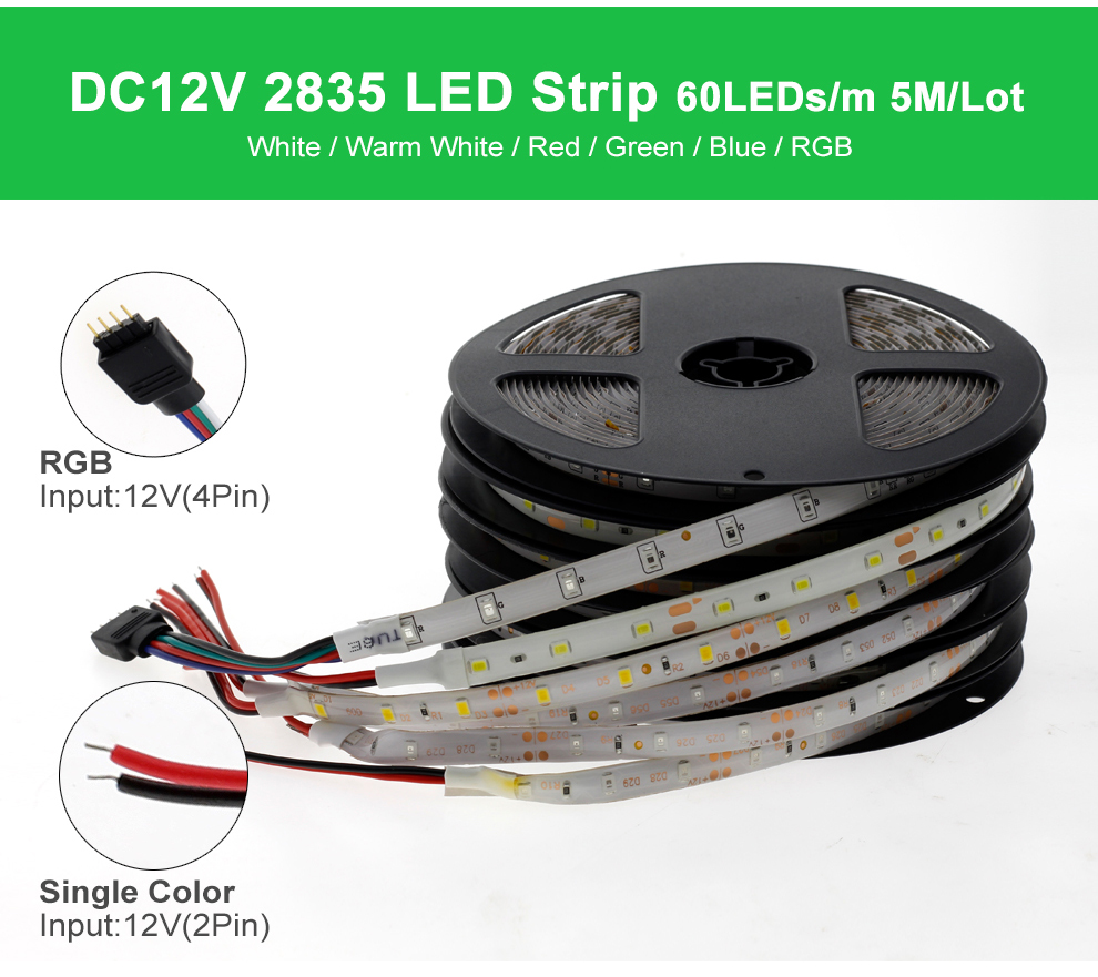 HTB1n1ndQcfpK1RjSZFOq6y6nFXag LED Strip 5050 2835 DC12V Flexible LED Light Tape 60LEDs/M White / Warm White / Blue / Green / Red Waterproof RGB LED Strip 5M