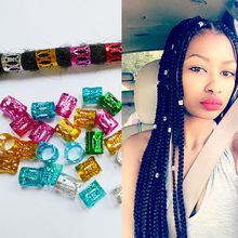 Golden Silver Colorful Round Hair Rings 100pcs/lot Beads Box Braid Beads Adjustable Hair Braid Cuff Clip(China)