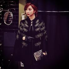 dabuwawa 2017 brands large sizes poncho jacket black embroidery fashion palace vintage elegant cloak coat women pink doll