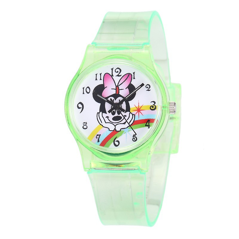 Trend Lovely Minnie Mickey Mouse Children Watches Transparent Silicone Boys Girls Wristwatch Cute Students Quartz Clock Kids