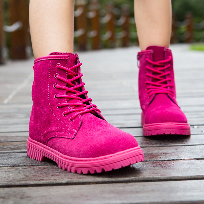 2017 Autumn and Winter New Children's Ankle Boots Shoes Boys British Style Boots Girls Fashion Boots Suede Leather Martin Boots 2014 new autumn and winter children s shoes ankle boots leather single boots bow princess boys and girls shoes y 451