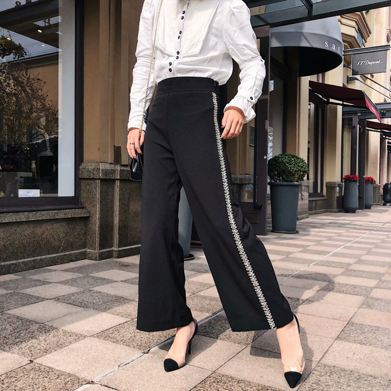Black Casual Ankle-length   Wide     Leg     Pants   Side Beading Design American Style Casual Women Solid Black   Wide     Leg     Pants