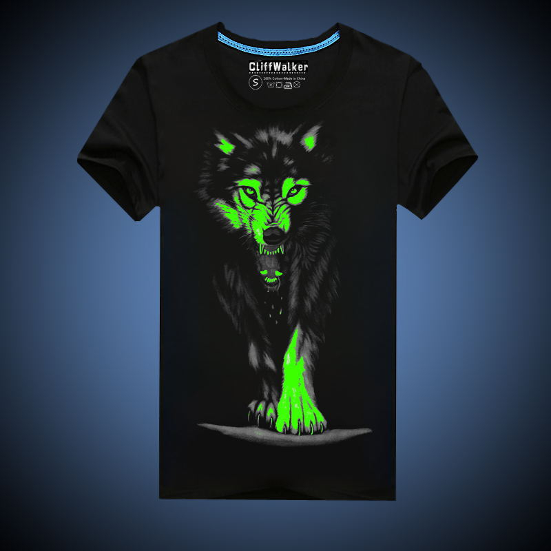 26364d2d8a3c2 RL الجدة رجل 3D الوهج في الظلام مضيئة T قميص الرجال أحجام الآسيوية أسود  الذئب المطبوعة قصيرة الأكمام 2019 الصيف الرجال الملابس