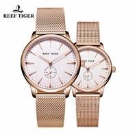 Риф Тигр/RT Роскошные пара часы для любителей для мужчин женщин ультра тонкий чехол аналоговые кварцевые часы RGA820