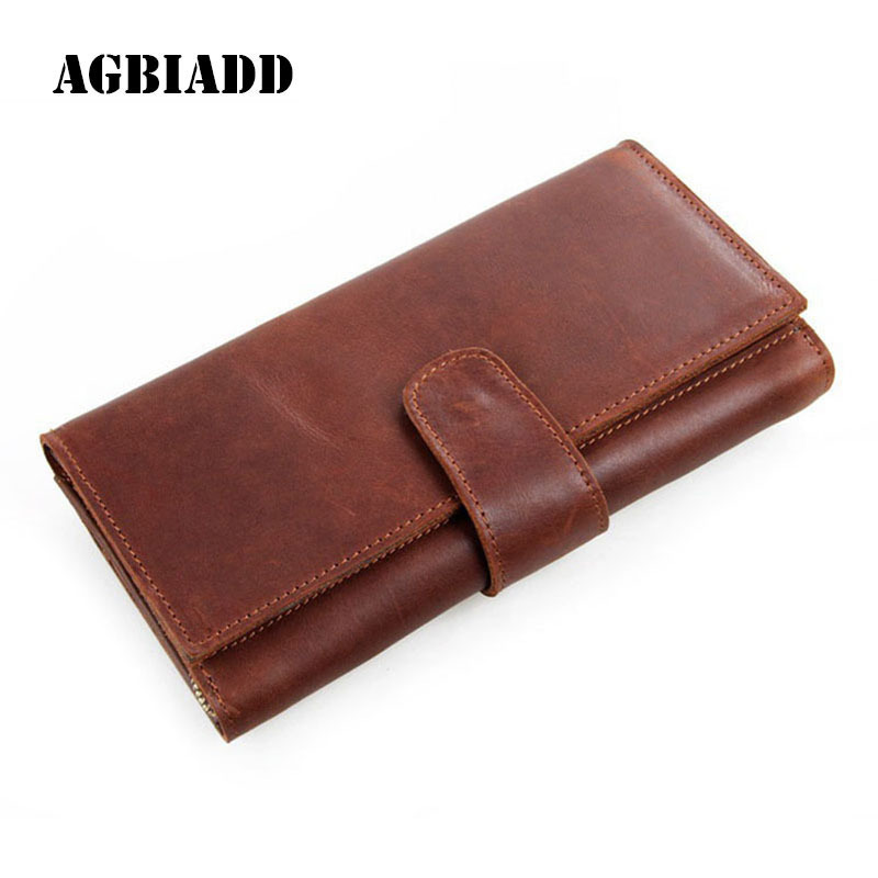 Business Men Wallets Solid Large Capacity Genuine Leather Purse Male Clutch Money Bag Multi-Card Hand Bag More Card Slots 280 genuine leather men business wallets coin purse phone clutch long organizer male wallet multifunction large capacity money bag