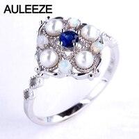 AULEEZE натуральная сапфировое обручальное кольцо натуральный жемчужный опаловые группа 18 K 750 кольца из белого золота для Для женщин старинны