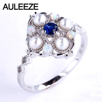 AULEEZE Genuine Sapphire Wedding Ring Natural Pearl Opal Ring 18K 750 White Gold Rings For Women Vintage Gemstone Fine Jewelry