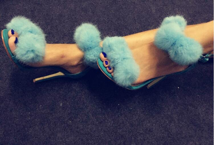 Blue bubbles faux fur pom pom sandals buckle strap open toe 12cm high thin heels women nightclub runway shoes high heel sandals