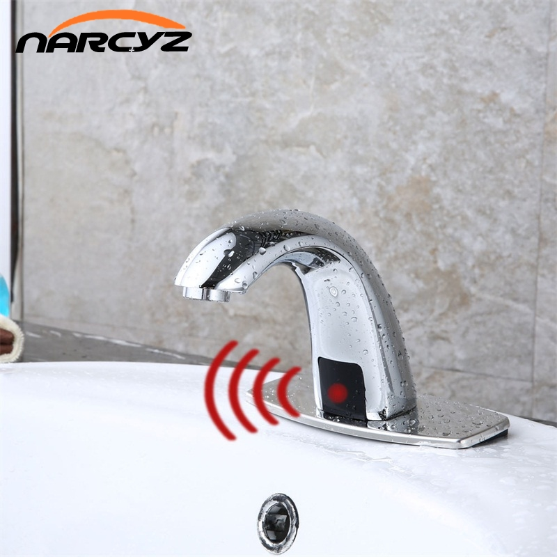 Bathroom Automatic Hands Touch Free Sensor Faucets water saving Inductive electric Water Tap battery power cold water HZY 11