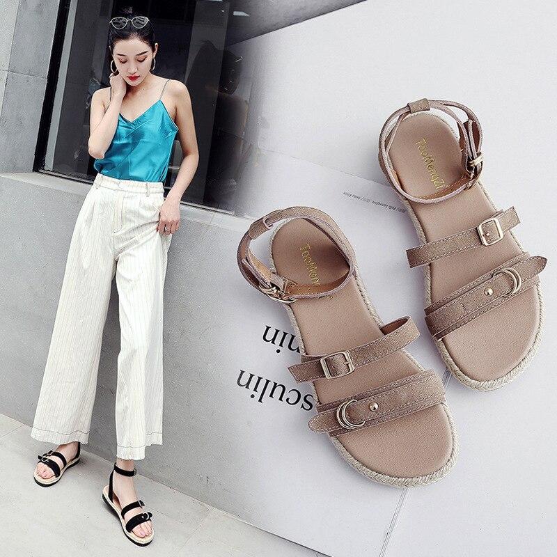 2018 летние женские сандалии на платформе обувь Новое поступление дышащая Шлепанцы из натуральной кожи женщина студент гриль