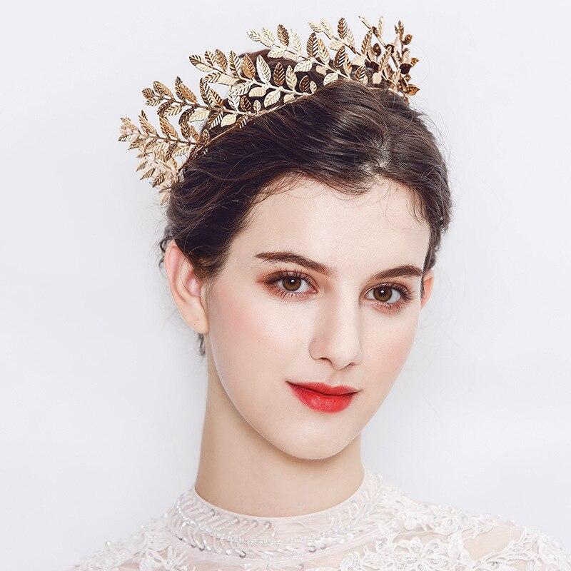 Dower me Women Prom Round Tiara Baroque Gold Leaf Wedding Hair Crown Bridal Hair Piece Accessories