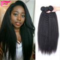 7A Virgin Brazilian Kinky Straight Hair Coarse Yaki Human Hair 4 Bundles Italian Yaki Kinky Straight Weave Virgin Hair Extension
