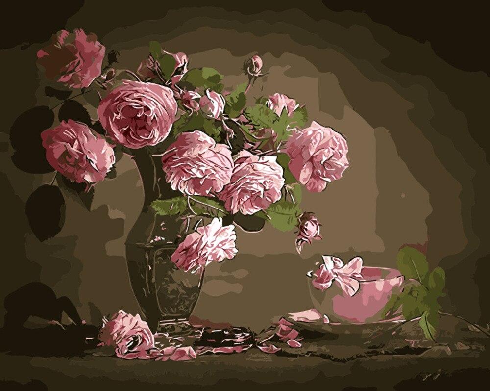Flor de primavera pintura al óleo cuadros por números crisantemo ...