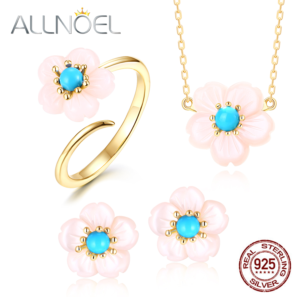 ALLNOEL 2019 Real 925 Sterling Silver Fine Jewelry Sets Natural Pink Shell Turquoise Choker Necklace Earrings