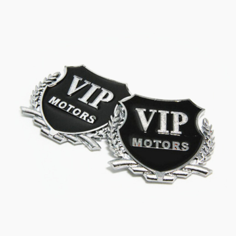 2pcs Car Styling 3D Logo VIP MOTORS Metal DIY Sticker for Land Rover LR4 LR3 LR2 Range Rover Evoque Defender Discovery Freelande