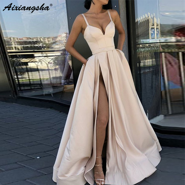 ad5d50bfdc6 Custom Made A Line Royal Blue Spaghetti Straps Sweetheart Prom Dress with  High Slit Satin Long