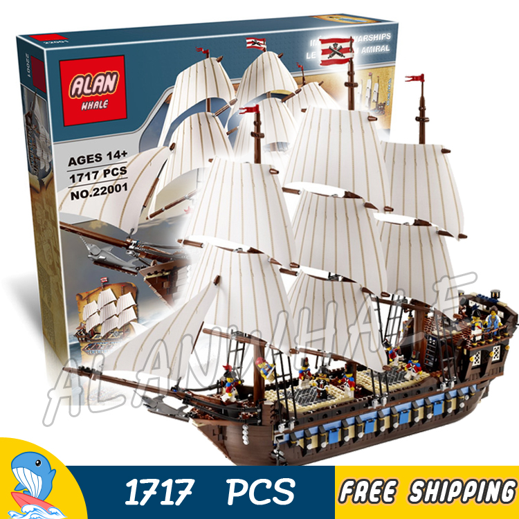 1717pcs Battle Ship Pirates of the Caribbean Imperial Flagship 39010 DIY Model Building Blocks Toys Bricks Compatible with Lego lepin 22001 pirates series the imperial war ship model building kits blocks bricks toys gifts for kids 1717pcs compatible 10210