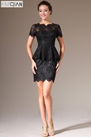 New Scalloped Neck Short Sleeves Black Lace Mini Cocktail Dresses