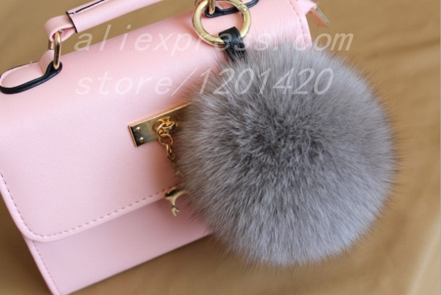 374b98d52030 15 cm Super Pom pom Bag Charm Bag Bug Real Fox Fur Keychain Furry Handbag  Charm Genuine Leather Sting Car Key ring Fluffy