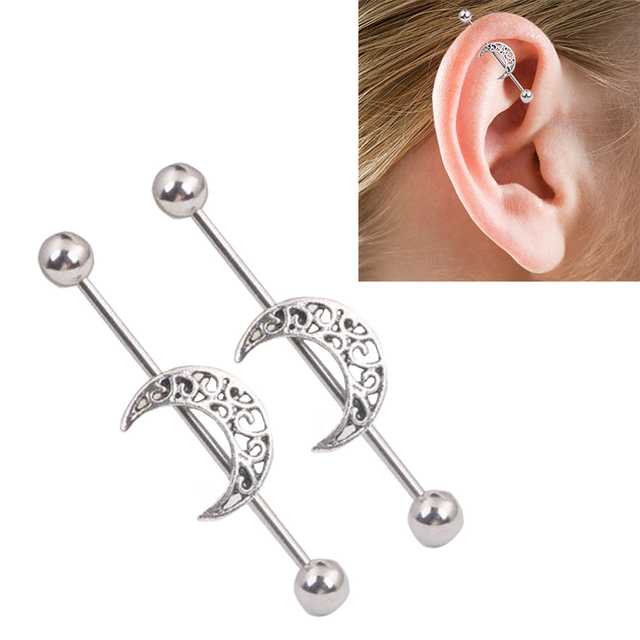 1pc Silver Surgical Stainless Steel Stud Earring Moon Shape Ear Tragus Piercing Fake Taper For Men