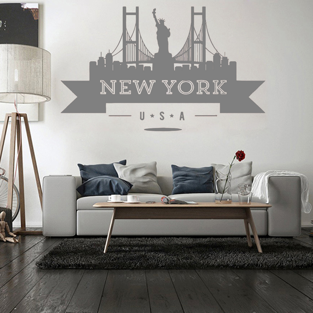 Usa New York City Skyline Wall Sticker Vinyl Decals Living