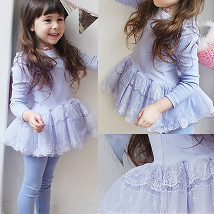 Children's clothing female child spring gentlewomen puff sleeve long-sleeve dance child cw95-2 one-piece dress  free shipping