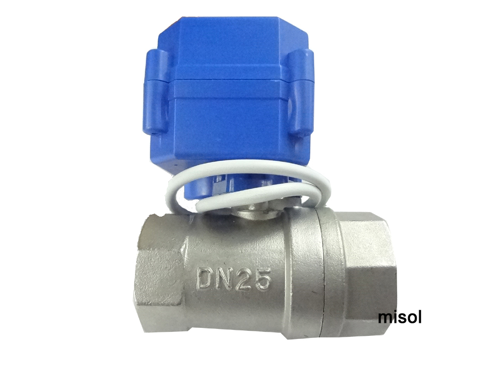 10 pcs motorized ball valve G1 DN25 2 way 12VDC CR04(reduce port), Stainless steel, electrical valve
