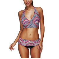 Dropshipping Women Halter Strap Lace Up Bikini Swimsuit Sets Two Pieces Split Ethnic Style Push Up