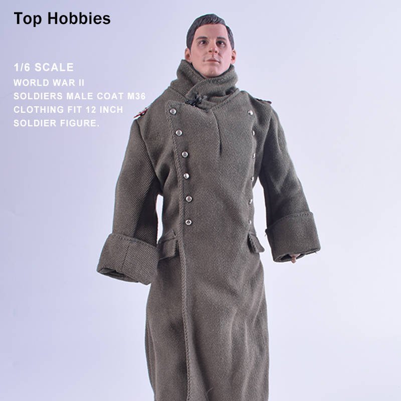 1/6 Scale Dragon World War II Soldiers Male Coat M36 Clothing Double-breasted With Collar Badge Toys For 12Action Figure Body world war 1