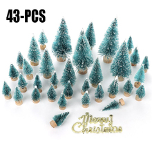 43pcs/set Christmas Tree Artificial Sisal Pine with Wood Base DIY Crafts Home Table Top Decoration Ornaments