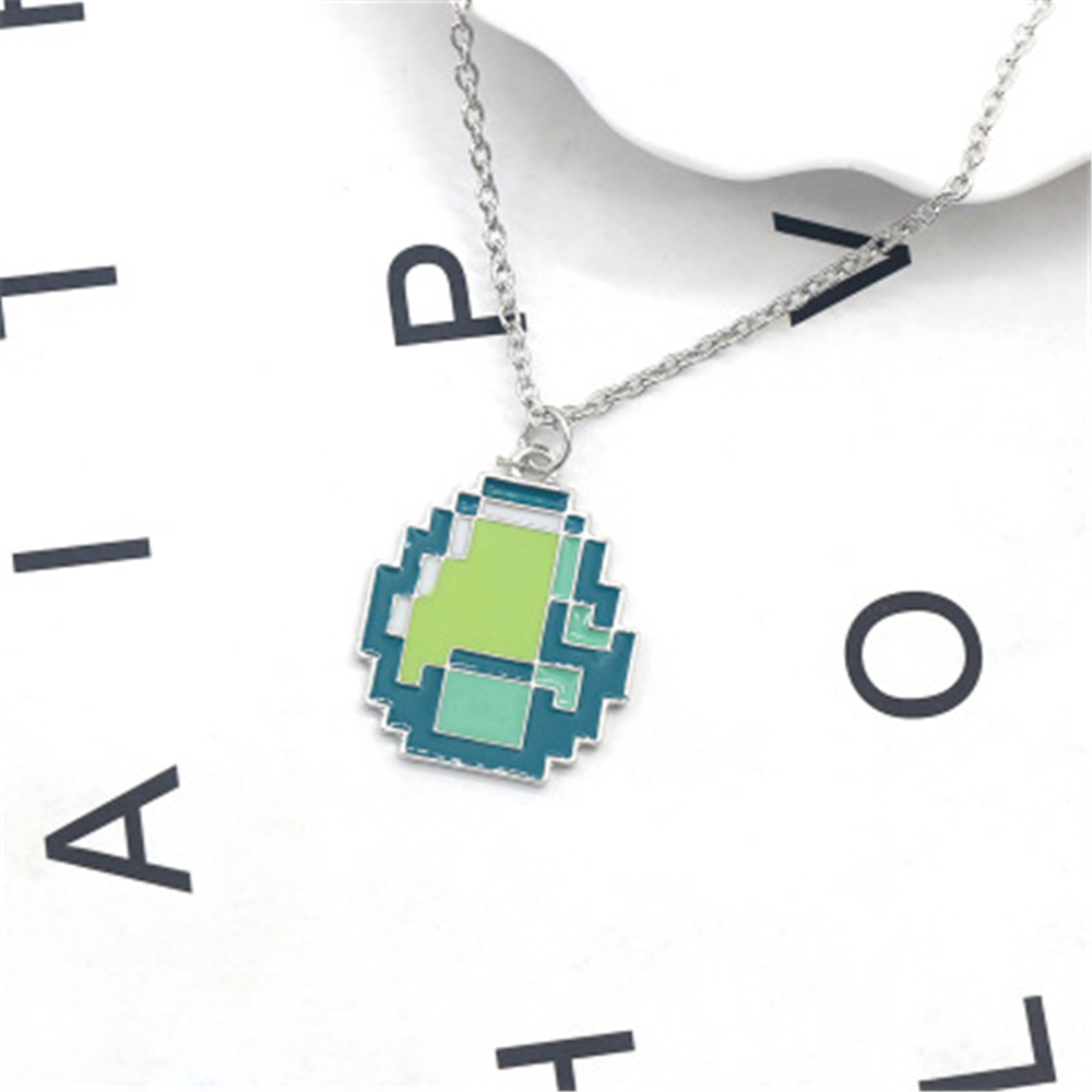 d9b22f6b3 Fashion Jewelry New Girls Minecraft JJ My world Green Strange Coolie Face  Pendant Necklace Sandplay Mosaic Enamel Chain Necklace-in Pendant Necklaces  from ...