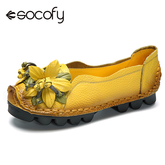 3325d583735 Socofy Vintage Flower Genuine Leather Flat Shoes Women Loafers Soft Sole  Slip On Casual Women Shoes Woman Handmade Floral Flats