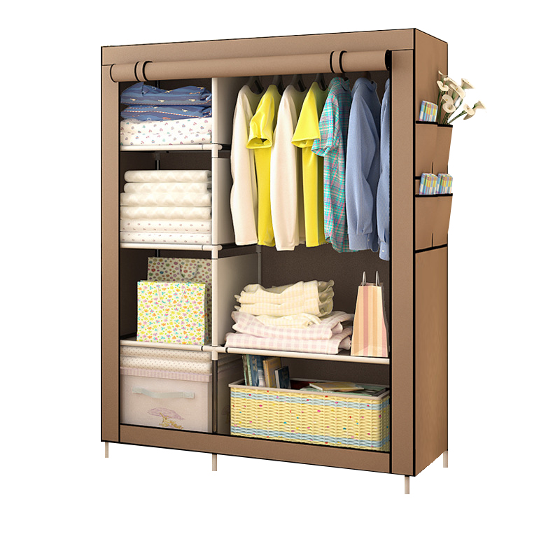 Bedroom Multipurpose Non woven Cloth Wardrobe Folding Portable Clothing Storage Cabinet Dustproof Cloth Closet Home Furniture-in Wardrobes from Furniture