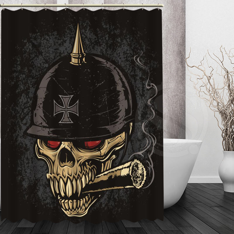 New Arrival Boutique Skull Shower Curtain Modern Style Pattern Customized Fabric For Bathroom Decor Curtains For