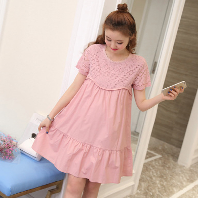 Summer Top Lace Dress Loose Summer Cotton Fashion Mother Pregnant Woman Skirt Short Sleeve Korean Version Maternity Clothes