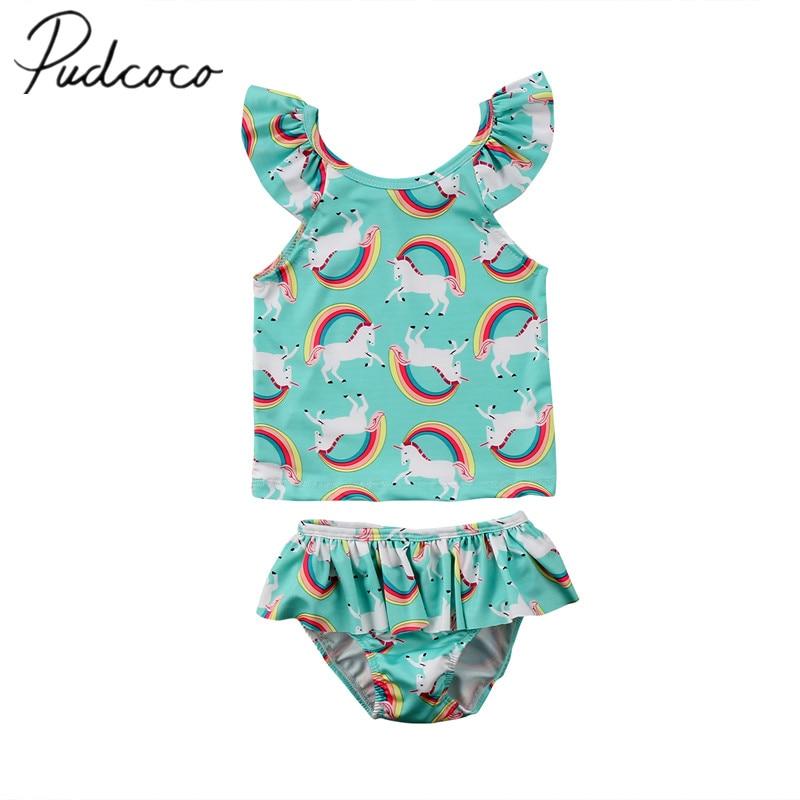 f05e17a83f 2018 Brand New 1-6Y Toddler Kid Baby Girl Boy Unicorn Bikini Set Swimwear  Crop Tops PP Shorts 2pcs Swimsuit Rainbow Baby Tanikni