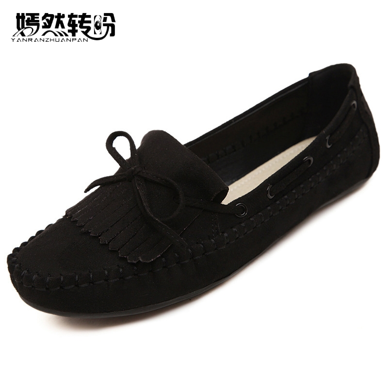 Women Shoes Flats Tassel Leather Round Toe Ladies Flat Loafers Woman Sweet Bowtie Dance Ballet Casual Slip On Shoes summer slip ons 45 46 9 women shoes for dancing pointed toe flats ballet ladies loafers soft sole low top gold silver black pink