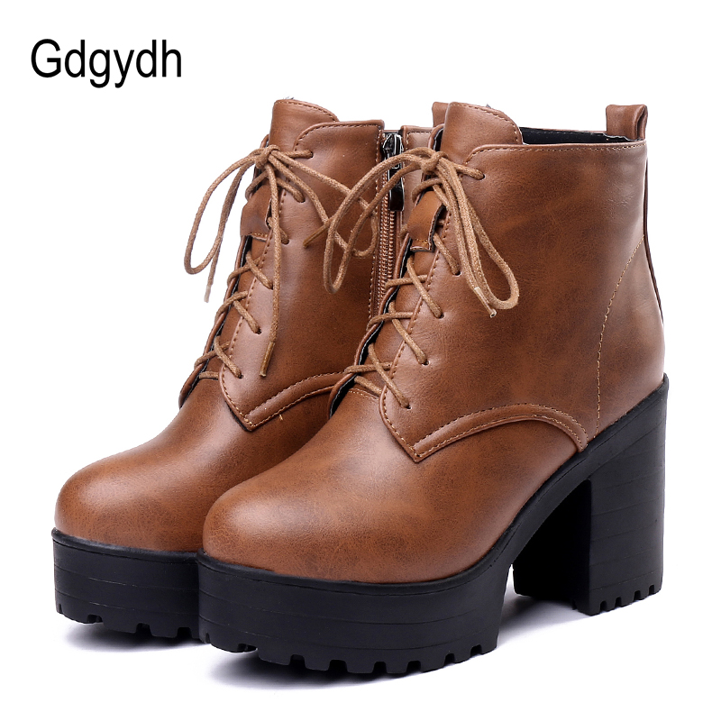 Gdgydh Lacing Woman Ankle Boots Round Toe Female High Heels Platform Booties Shoes Spring Short Boots Ladies Shoe 2018 Autumn gdgydh women platform heels ankle boots zipper high heels female booties shoes black round toe ladies shoes big size 2018 autumn