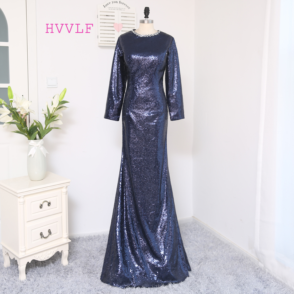 New Navy Blue Evening Dresses 2018 Mermaid Long Sleeves Sequins ...