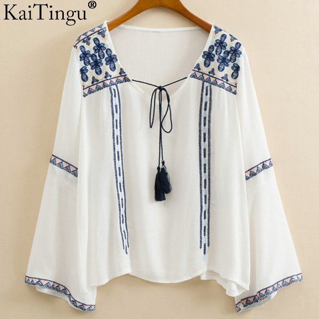 KaiTingu 2016 Brand New Summer Style Women Tops Fashion Lady Embroidery Chiffon Short Shirt Long Sleeve Casual Blue Blouses