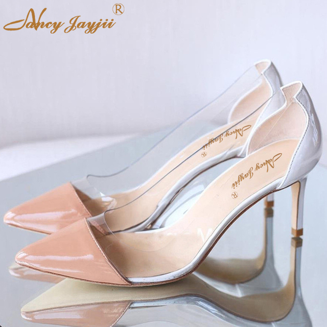 Nancyjayjii Sexy High Heels Princess Cinderella Clear Glass(PVC)  Wedding Party Evening Summer Women Pumps Size 4-16 Shoes