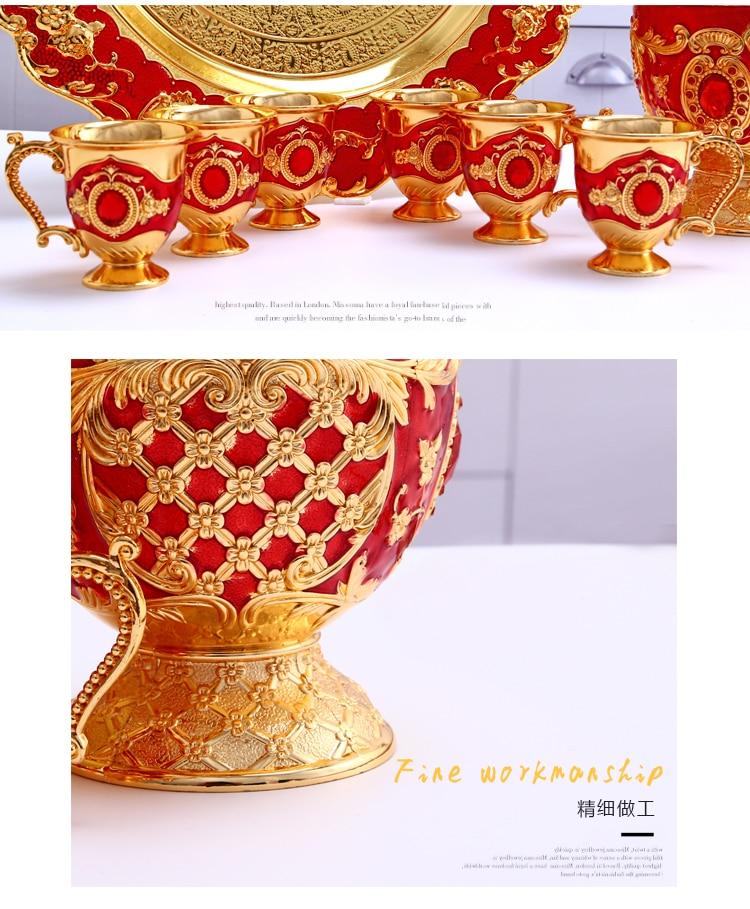 Wholesale European Luxury Sherbet Mass Volume Sherbet Set  Gold Goblet Engraving Shot  teaware Gifts Decor